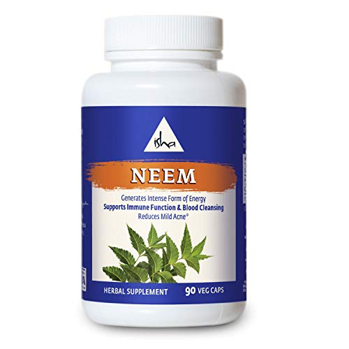 Isha Organic Neem Supplement — Natural Ayurvedic Herbal Cleanser and Purifier: Boosts Immunity, Detoxifies The Body, and Prevents Mild Acne for All Skin Types. 90 Vegetarian Capsules, 950 mg Each ()