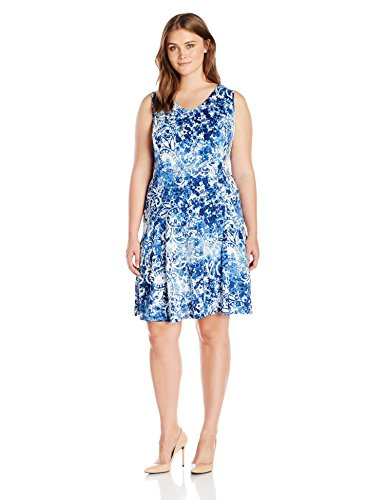 Notations Women's Plus-Size Sleeveless V-Neck Godet Printed Dress, Blue/Whiff, 1X