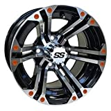 12'' RHOX Offset Machined Gloss Black Golf Cart Wheel w/ ORANGE Inserts