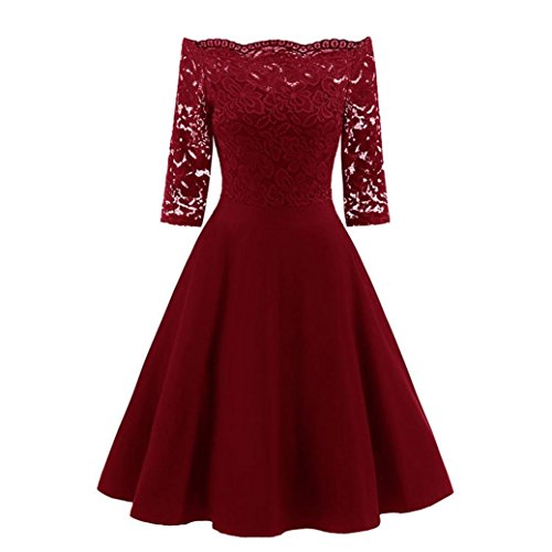 Price comparison product image Women Long Dress Daoroka Women's Sexy Off Shoulder New Fashion Vintage Lace Printing Short Sleeve Formal Patchwork Wedding Dress Cocktail Retro Swing Evening Party Skirt Slim Ladies Dress (L,  Red)