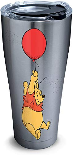 Tervis 1290863 Disney-Winnie the Pooh Balloons Tumbler with Clear and Black Hammer Lid, 30 oz Stainless Steel, Silver (Renewed)