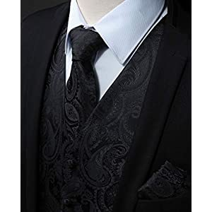 HISDERN Men's Floral Paisley Wedding Party Waistcoat Necktie Pocket Square Handkerchief Jacquard Vest Suit Set