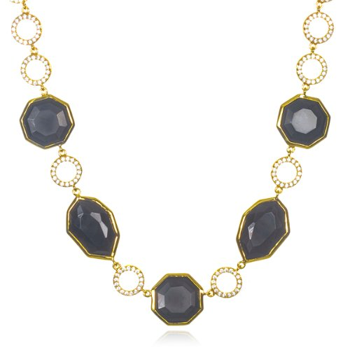 Gold Plated Silver Onyx Designer Master Piece Necklace -18'' by CHELINE