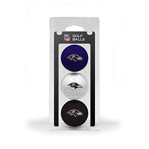 Team Golf NFL Baltimore Ravens Regulation Size Golf Balls, 3 Pack, Full Color Durable Team Imprint