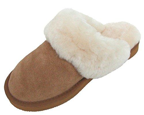 Chamier Warme Damen Lammfell Haus Pantoffeln Livia Camel mit Fellkragen, Durchgehend Nur Lammfell, Leichte Sohle, Gr. 37 Braun