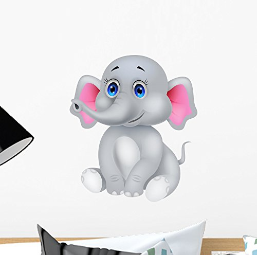 Wallmonkeys Cute Baby Elephant Cartoon Wall Decal Peel and Stick Graphic (12 in H x 10 in W) -