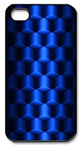 iphone 4S custom cases patterns abstract blue parallax 3d cubes 67 PC Black for Apple iPhone 4/4S