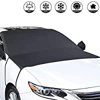Whew Car Windshield Snow Cover, Waterproof Frost Guard Winter Windshield Cover Ice Snow, Windproof Windshield Sun Shade Fits Most Cars Truck, Vans, SUVs - Size 65''x60''