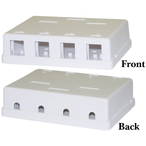 CableWholesale 4 Hole Blank Surface Mount Box for Keystone, White (300-3144E) Blank Surface Mount Box