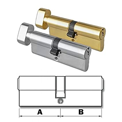 HomeSecure - Serratura per porta a cilindro europeo, con manopola fissa, elemento sostitutivo resistente al trapano, disponibile in ottone e nichel Home Secure