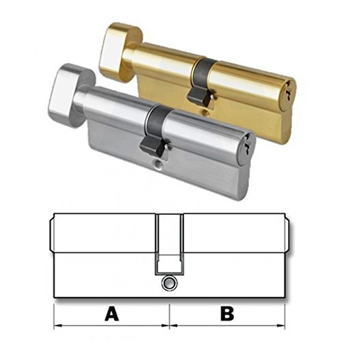 Thumb-Turn Euro Cylinder Door Lock Barrel - Brass & Nickel - Replacement Thumb-Turn Lock Barrel - Drill Resistant (35x35, Nickel) by HomeSecure