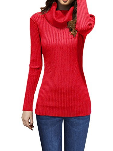 - v28 Women Stretchable Cowl Neck Knit Long Sleeve Slim Fit Bodycon Sweater (Medium, CowRed)