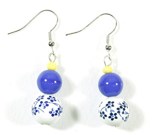 Blue and Yellow Classic, Porcelain Bead Earrings
