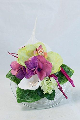 Pequeño centro de mesa con orquídea + hortensia-decoración de mesa ...