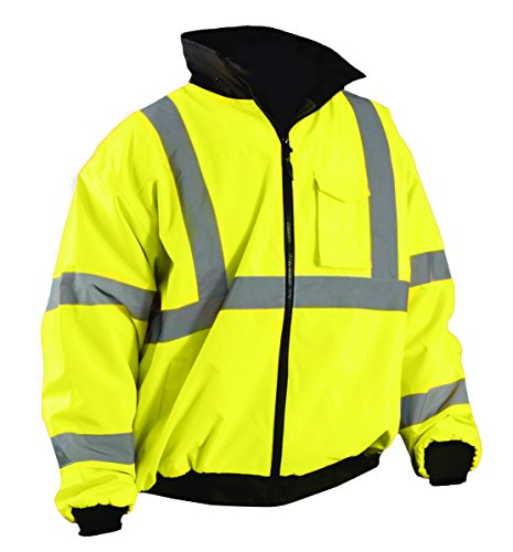 OccuNomix LUX-ETJBJ-YL High Visibility Fleece Lined Bomber Jacket with Roll-Away Hood and 4 Pockets, Class 3, 100% ANSI Polyester, Large, ()