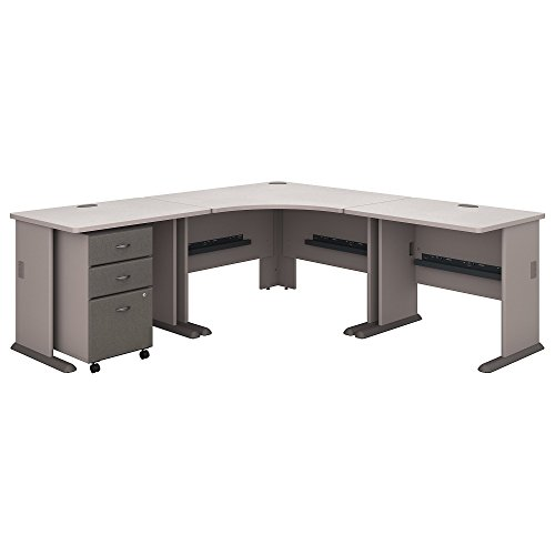 (Bush Business Furniture Series A 84W X 84D Corner Desk with Mobile File Cabinet - Pewter/White Spectrum 83W X 83D X 30H ERGONOMICHOME BUSH BUSINESS FURNITURE Scroll Down for Product Description)