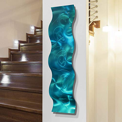Statements2000 3D Abstract Metal Wall Art Accent Sculpture Modern Aqua Blue Decor by Jon Allen, 46