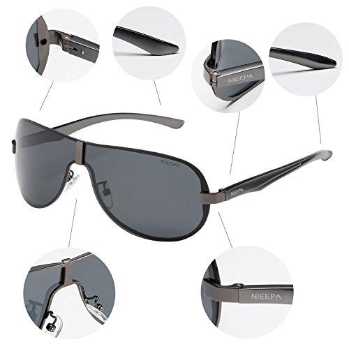 NIEEPA Polarized Aviator Sunglasses Vintage Men Fashion Rimless Designer Outdoor Driving Sun Glasses Oversized Goggles Sports Shield UV400 Protection Glasses Grey Lens/Gun Frame