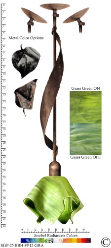 Jezebel Radiance® Sweetgrass Pendant. Hardware: Brown with Brown Highlights. Glass: Grass Green, Flame Style