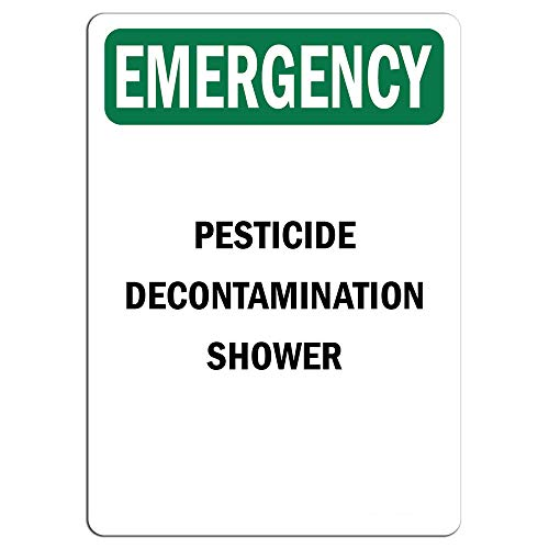 Emergency Sign - Pesticide Decontamination Shower    Label Decal Sticker Retail Store Sign Sticks to Any Surface 8