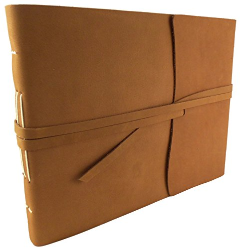 """Large Rustic Genuine Leather Photo Album with Gift Box - Scrapbook Style Pages - Holds 400 4x6"""" or 200 5x7"""" Photos"""