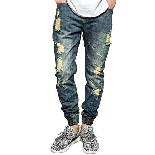 Denim Blau Distrutti Jeans Da Strappati Elasticizzati Vintage Uomo Moda Casual Pantaloni Abbigliamento St6RqxFw
