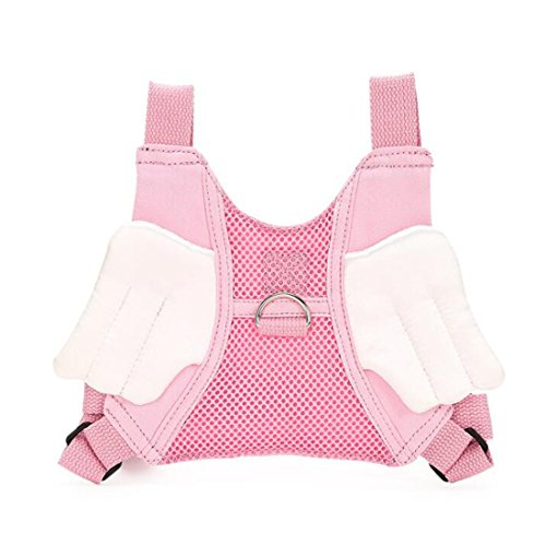 EPLAZA Toddler Walking Safety Bat Belt Harness with Leash Breathable (cotton pink angle)
