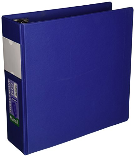 Samsill Clean Touch 3 Ring Binder, Protected by Antimicrobial Additive, 4 Inch Capacity, Reference Binder with Label Holder, Locking Round Ring, Blue