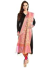Dupatta Bazaar Women's Benarasi Silk Woven Pink & Gold dupatta