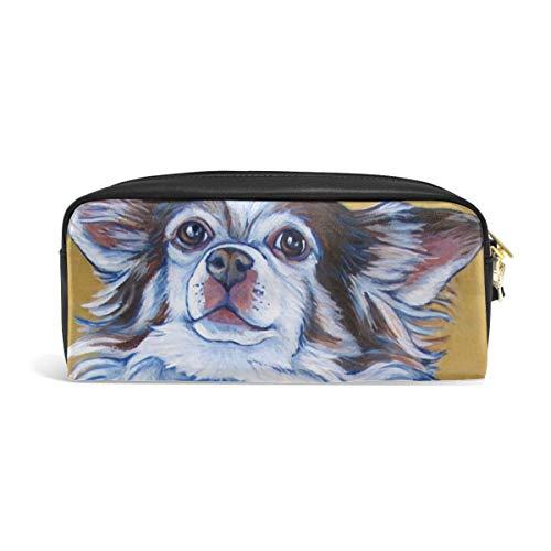 (White Long Hair Chihuahua Art Painting Pen Pencil Bag Office Supplies Portable Microfiber Pencil Case Makeup Bag Brush Cosmetic Cube Purse Zipper Pouch for School Office Supplies)