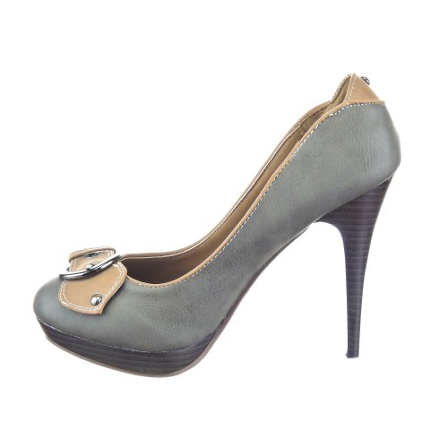 Sopily - damen Mode Schuhe Pumpe Dekollete Stiletto - Grau