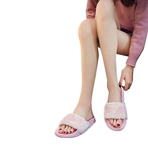 Mesdames Femmes en Sandal Flip Chaussons Diapositives Rawdah Fluffy Fourrure Plat Fausse Flop sur Les Rose Slipper Slip 5EFnfq