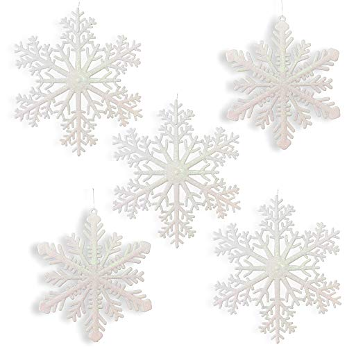 Large Snowflakes - Set of 5 White Glittered Snowflakes - Approximately 12