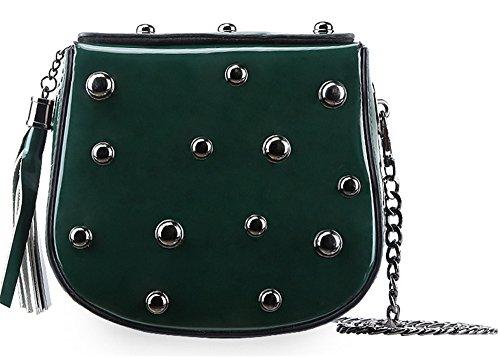 Bolsos de cuero de la Mujer Xinmaoyuan Candy hombro Cruz Sesgar remaches bolsos Cross-Painted Package,pintura negro Green