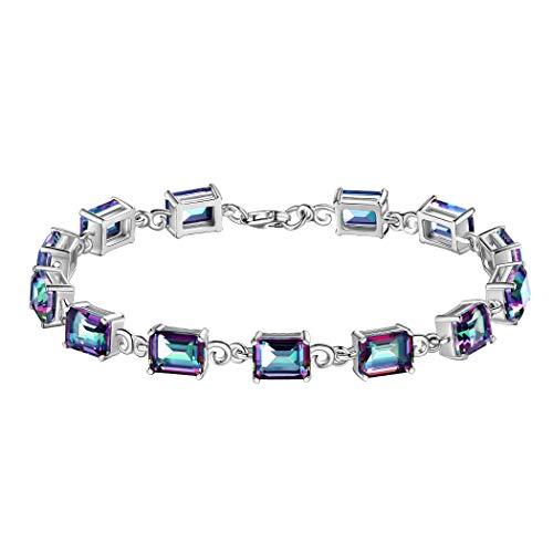 (Aurora Tears Mystic Rainbow Topaz Bracelet Women 925 Sterling Silver Crystal Bracelets CZ Jewelry Girls Dating Jewelry DB0002M)