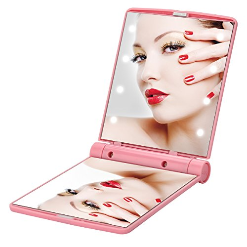 (Yusong Compact Led Lighted Mirror for Travel Makeup Mini Mirrors Portable Folding Cosmetic Handheld Pocket Small Purse Size Bright Mirror Light Up In Dark Focus Illuminated For Girls Makeup)