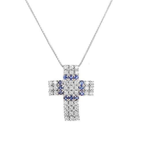 18k White Gold Cross Pendant (Damiani 18K White Gold Diamond & Sapphire Cross Pendant)
