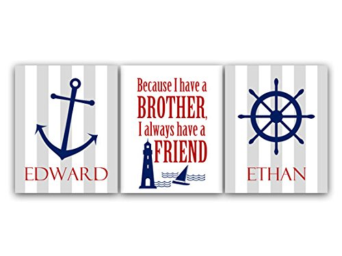 UNFRAMED PRINTS (CHOOSE YOUR SIZES) - Boys Nautical Room Decor, Brothers Wall Art, Brothers Quote, Personalized Kids Wall Art, Kids Name Art, Twin Boys Wall Art - KIDS78