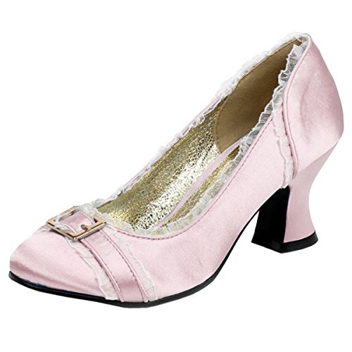 Womens Chunky Heel Pumps Satin Shoes Round Toe Blue Ivory Pink 2 1/2 Inch Heels Size: 7 Colors: Pink