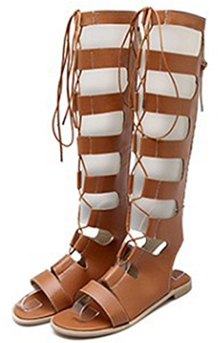 Sandals Knee Gladiator Brown Shoes IDIFU Women Utw65q7xnS