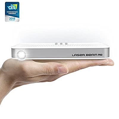 """Portable Mini Projector [Laser Beam Pro C200] 2017-2018 CES Awarded Focus-Free FDA Eye Safety Class1 200 Lumens 4K Input 768P HD Output 150"""" Screen Max Wi-Fi Bluetooth USB microSDslot HDMI OS Equipped"""