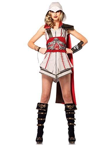 Leg Avenue Women's Assassin's Creed 4 Piece Ezio Deluxe Costume Cosplay, Grey/Red, (Women's Assassin's Creed Costume)