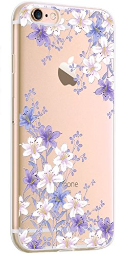 iPhone 8 Plus/iPhone 7 Plus Case,New Hybrid Fruits and Flowers Series Transparent Clear Soft TPU Protective iPhone 8 Plus/iPhone 7 Plus Case by Fancy Case (Purple and White - Purple Transparent