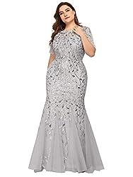 Plus Size Embroidery & Sequins Silver Colour Maxi Dress