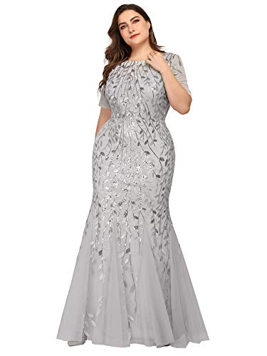 Women's Sweetheart Neckline Prom Formal Gown Mermaid Dress Plus Size Silver US16