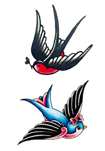 SanerLian Waterproof Temporary Fake Tattoo Stickers Blue Black Grey Birds Big Design Set of 5