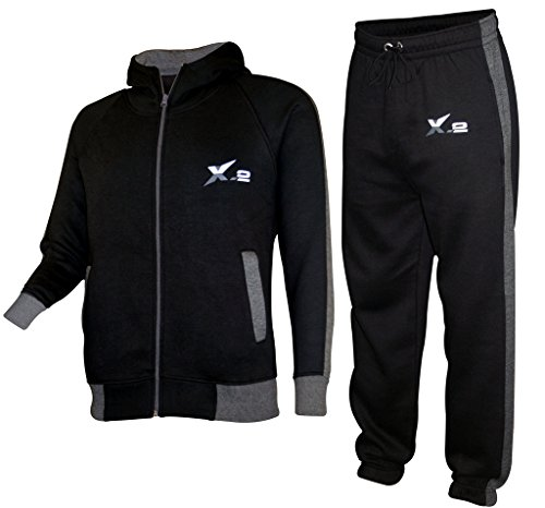 X-2 Mens Athletic Full Zip Fleece Tracksuit Jogging Sweatsuit Activewear Hooded Top