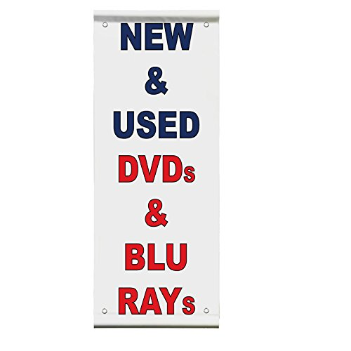 New 7 Used Dvds & Blu Rays Blue Red Double Sided Vertical Pole Banner Sign 24 in x 48 in w/ Wall Bracket