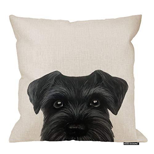 HGOD DESIGNS Black Schnauzer Original Painting Dog Puppy Pillow Case Cover Cotton Linen 18X18 Inch (Schnauzer Pillow)