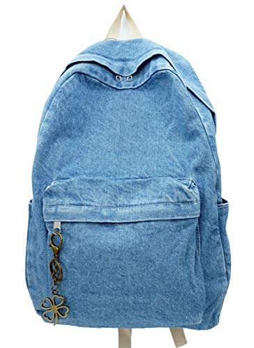 Yunzh Classic Retro Denim Bookbags School Bag College Jeans Backpack Casual Backpacks -